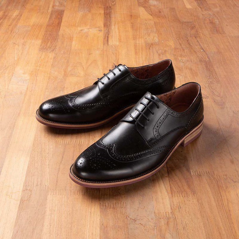 Vanger Winged Carved Laminated Derby Shoes-Va267 Black