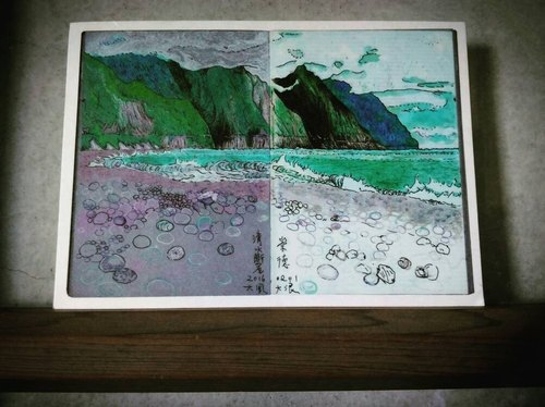 Water cliff Ching-Shui Cliff Hualien storms postcard Postcard Zonta beach travel landscape painting