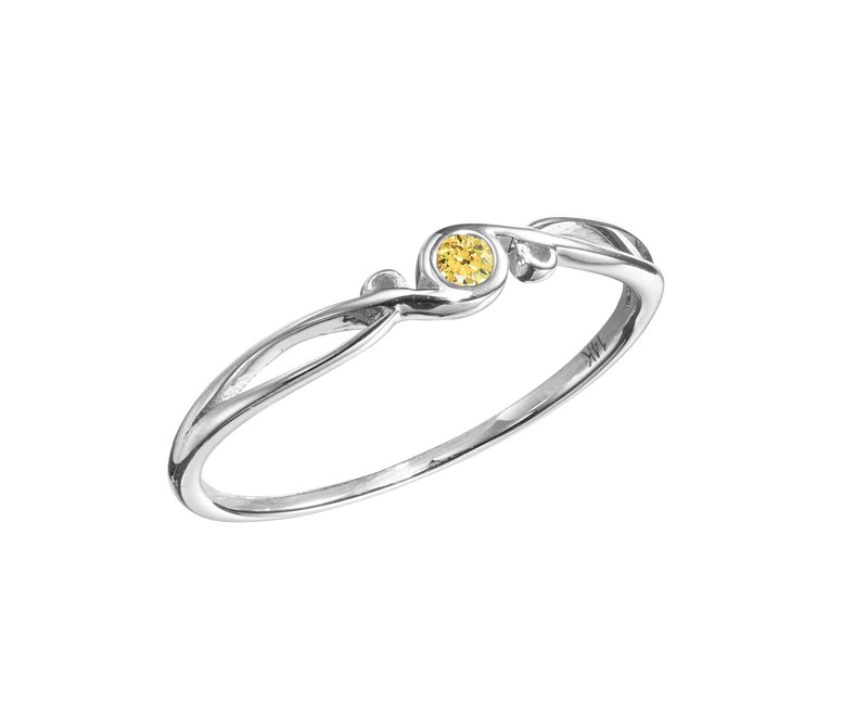 White Gold Engagement Ring, Yellow Diamond Wedding Ring, White Gold Promise Ring