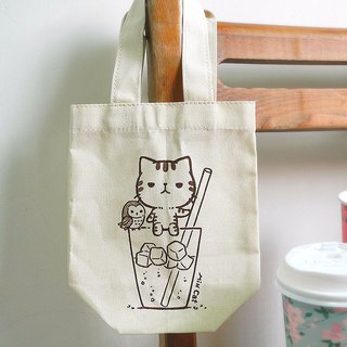 Canvas beverage bag small 歪歪 series - ice tea handmade 饮料 printed beverage bag