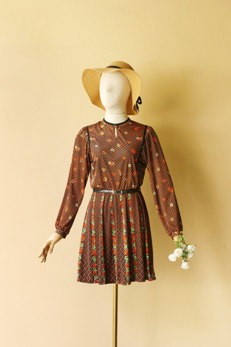 Vintage Dress Beautiful floral print on plaid background