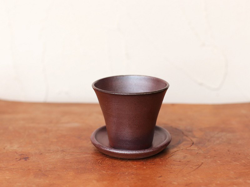 Bizen pottery mini flowerpot (with saucer) u-044