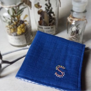 Hand embroidered gauze handkerchief initial S (order-receiving)