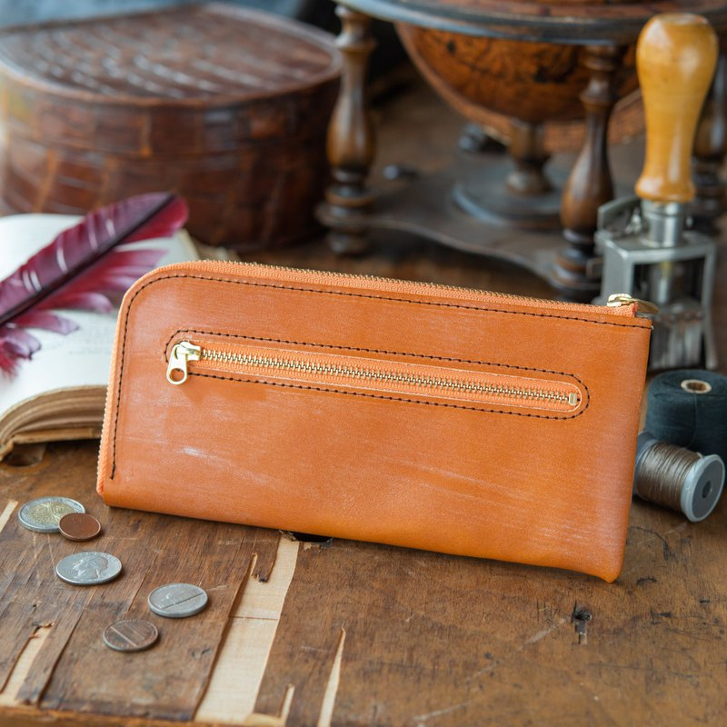 日本製造 牛皮 錢包 L形拉鏈 棕色 Thomas Ware Bridle made in JAPAN handmade leather wallet