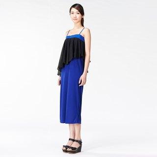 Dress thin shoulder strap flat wave wavy ocean _ blue with black dot chiffon