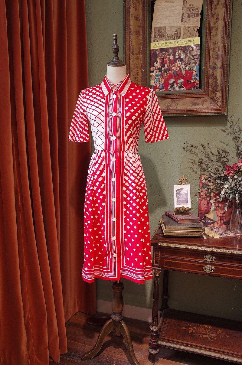 vintage dress襯衫翻領連衣裙古著洋裝