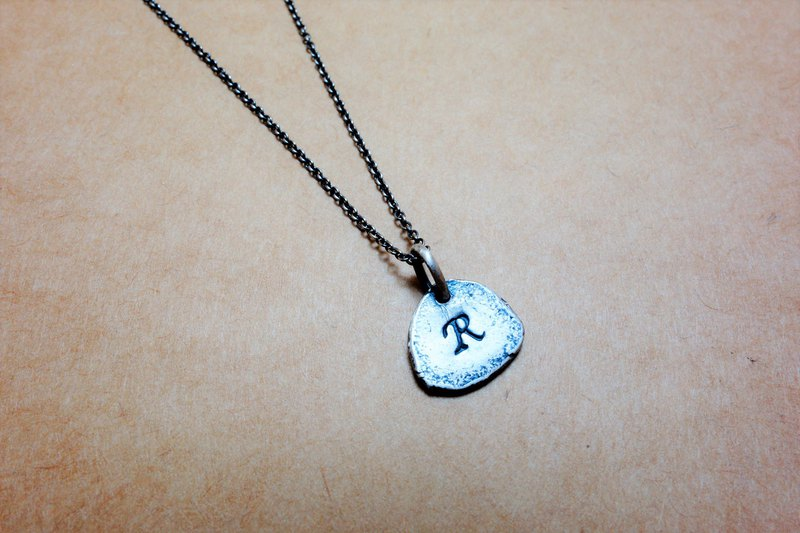 Sterling silver English alphabet (general script) necklace