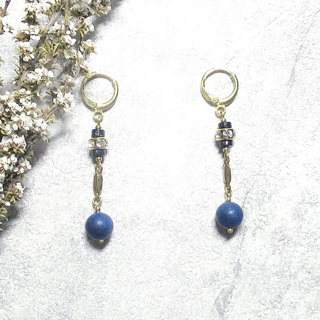 VIIART. Sirius. Blue sand lapis lazuli brass earrings - can be changed