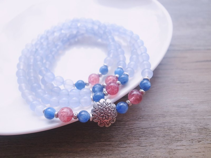 ORLI Jewelry Ice Blue Chalcedony 108 Rosary Multi-ring Bracelet Natural Stone Natural Crystal