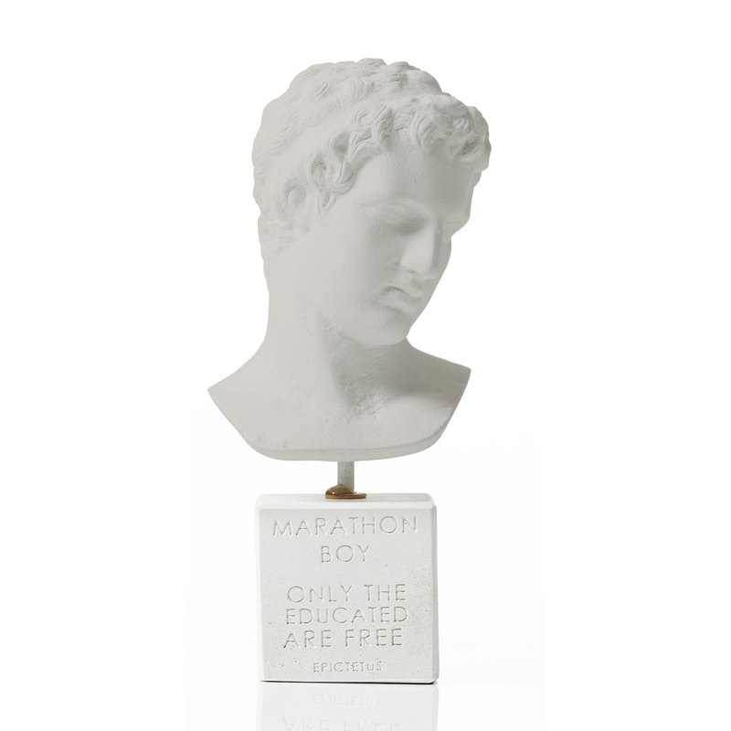 Ancient Greek Marathon Junior (Small - Cold Gray) Marathon Boy - Handmade Ceramic Statuette