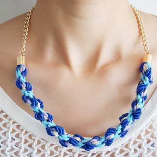Marine color hand-knit wax cord leather rope necklace