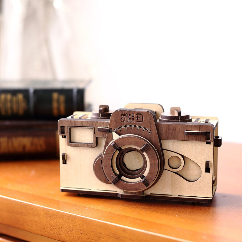 Hand-made model 35mm pinhole camera light color wooden combination decoration