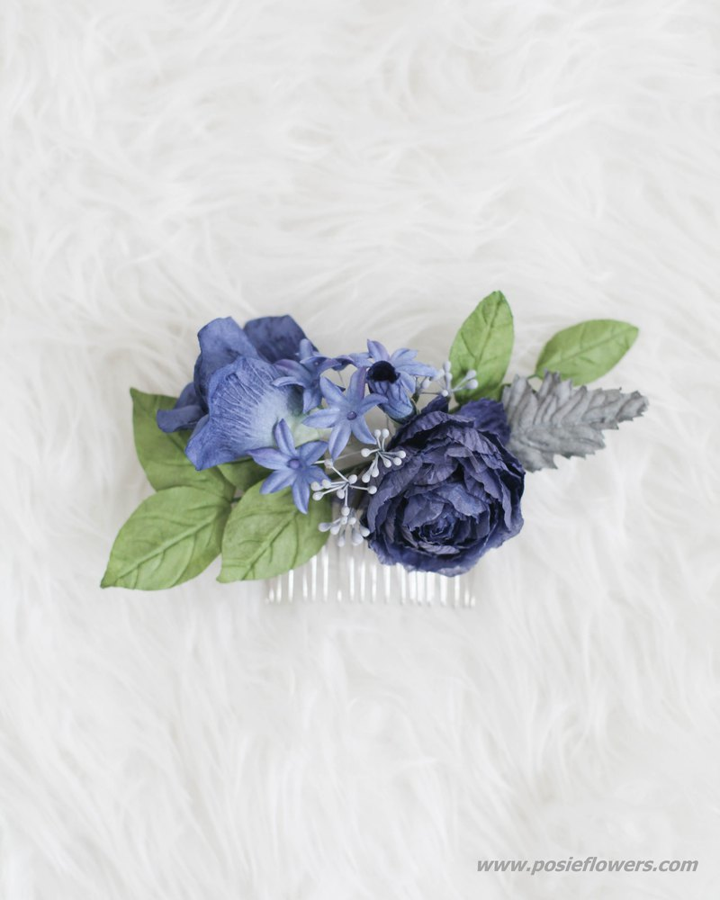Navy Blue Handmade Paper Flower Hair Comb