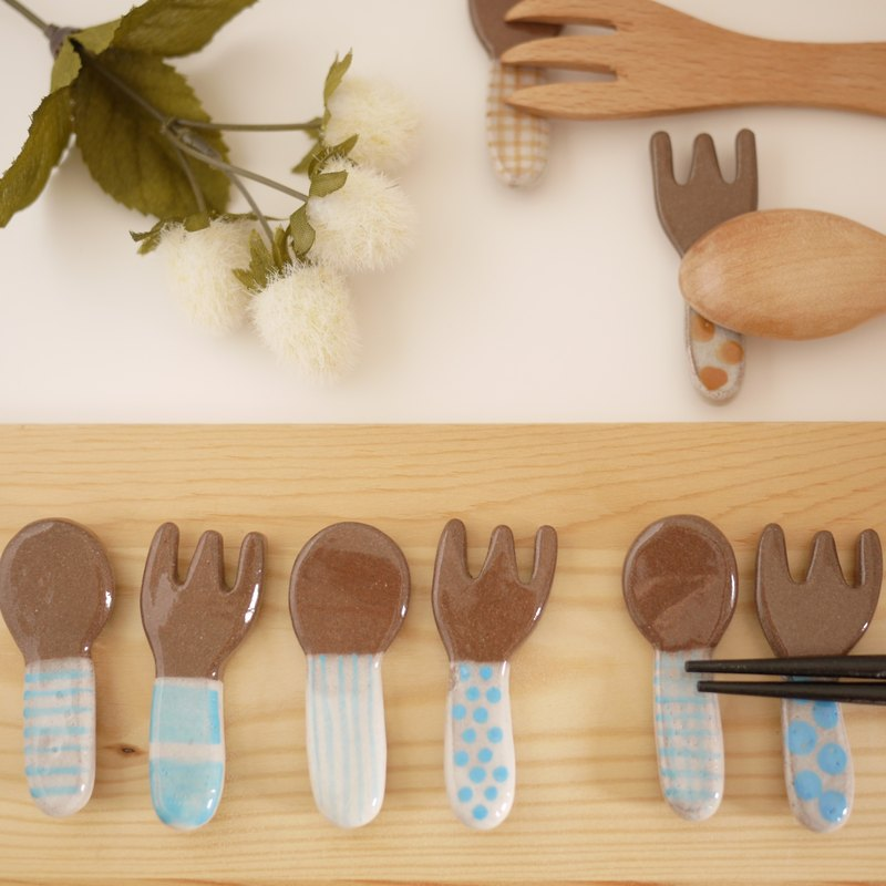 Chopstick rest of spoon and fork 【light blue】
