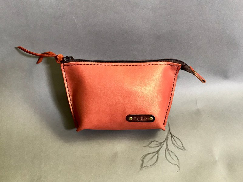 POPO│ bright pink orange │ leather storage bag │