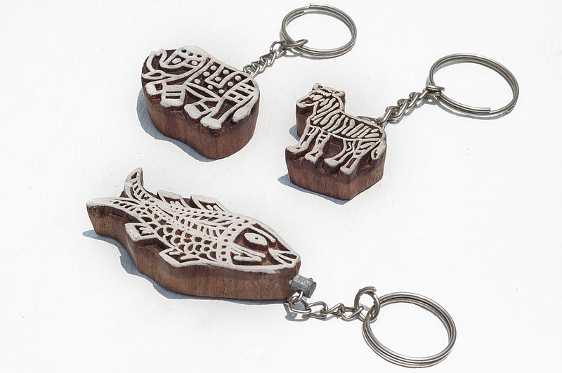 Limited Wooden Seal / Wooden Key Ring / Indian Handmade Woodcut Key Ring-Fish Elephant Zebra Animal