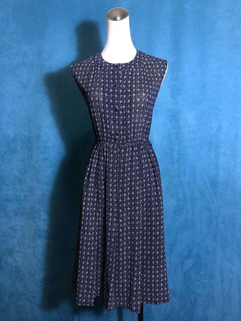 Totem blue sleeveless vintage dress / bring back VINTAGE abroad