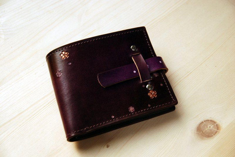 [Limited discount extended] [planted leather short clip] inserted cherry cherry purple short clip