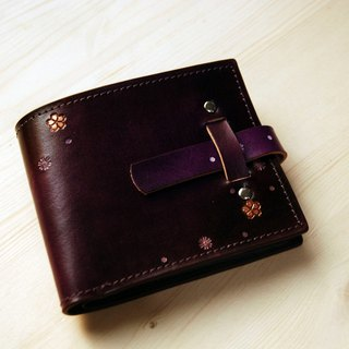 [Father's Day] [Leather Carving Series] [Planting Leather Short Clip] Inserting Cherry Blossom Purple Leather Short Clip