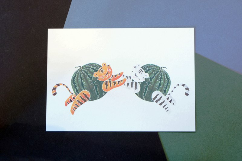 Fruit animal postcard watermelon tiger (not only sold)