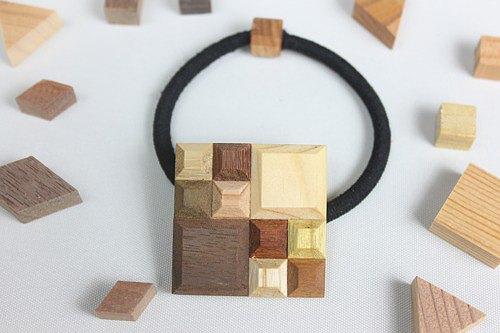[New] Wood Crystal Square Hair Elastic