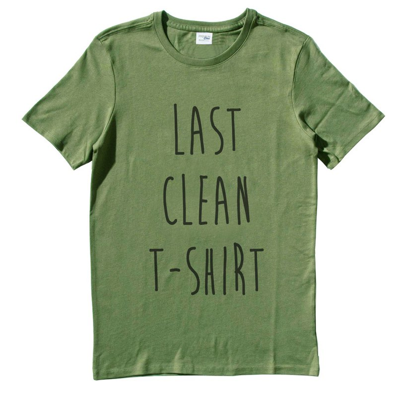 LAST CLEAN T-SHIRT # 2 Men's Short Sleeve T-Shirt Army Green Last Clean T-shirt Wen Qing Art Design Trendy Text Fashion