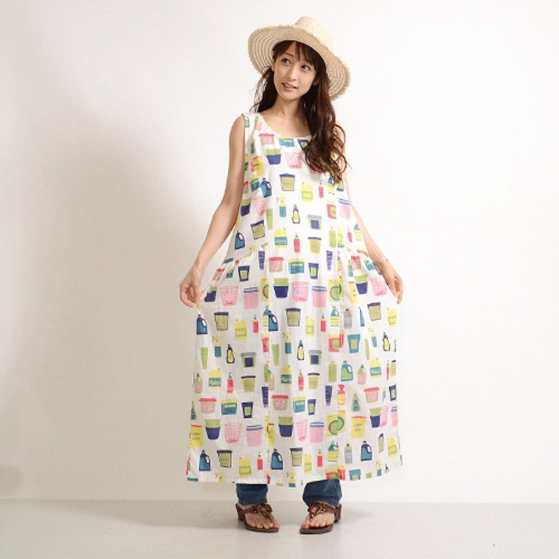 Colorful WashRoom print sleeveless side switch one piece