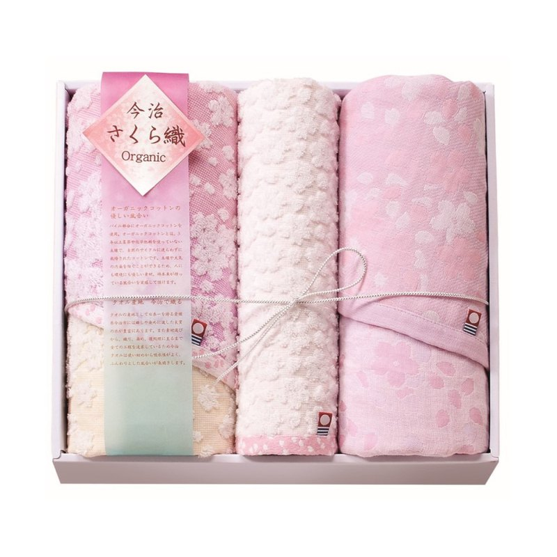 Imabari organic cotton cherry blossom classic gift box set (square towel x1 + towel x2)