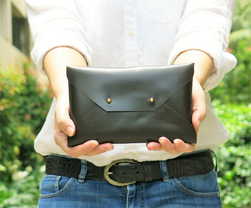 SMALL Dark Brown Leather Envelope Clutch, Bridesmaid leather clutch, purse