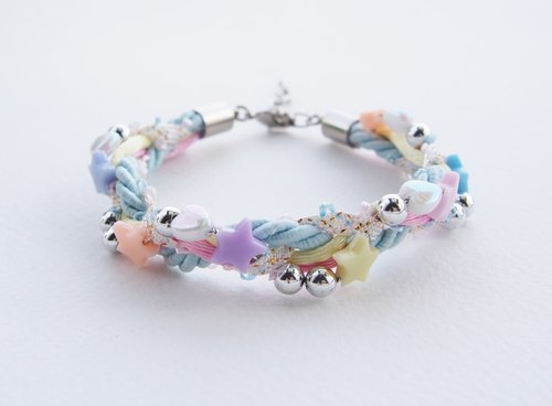 Colorful pastel bead-braided bracelet