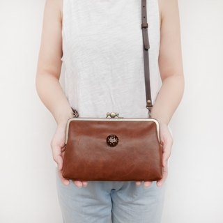 Big hand の temperature two grid shoulder bag / mobile phone bag / mouth gold package [Made in Taiwan]