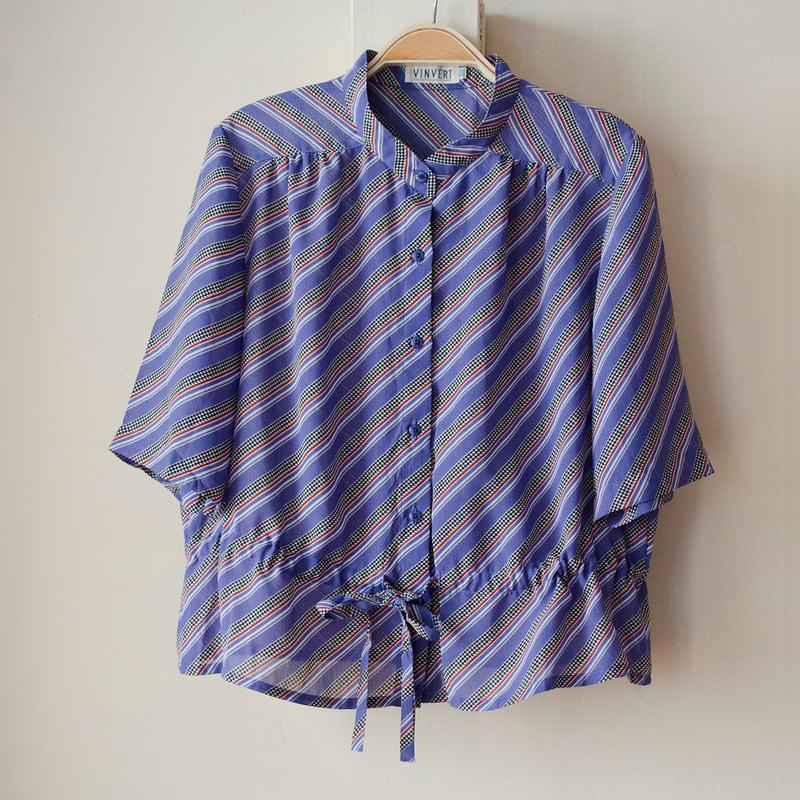 Purple night dance geometric twill drawstring straps stand collar seven points chiffon shirt | vintage Wan Hao vintage
