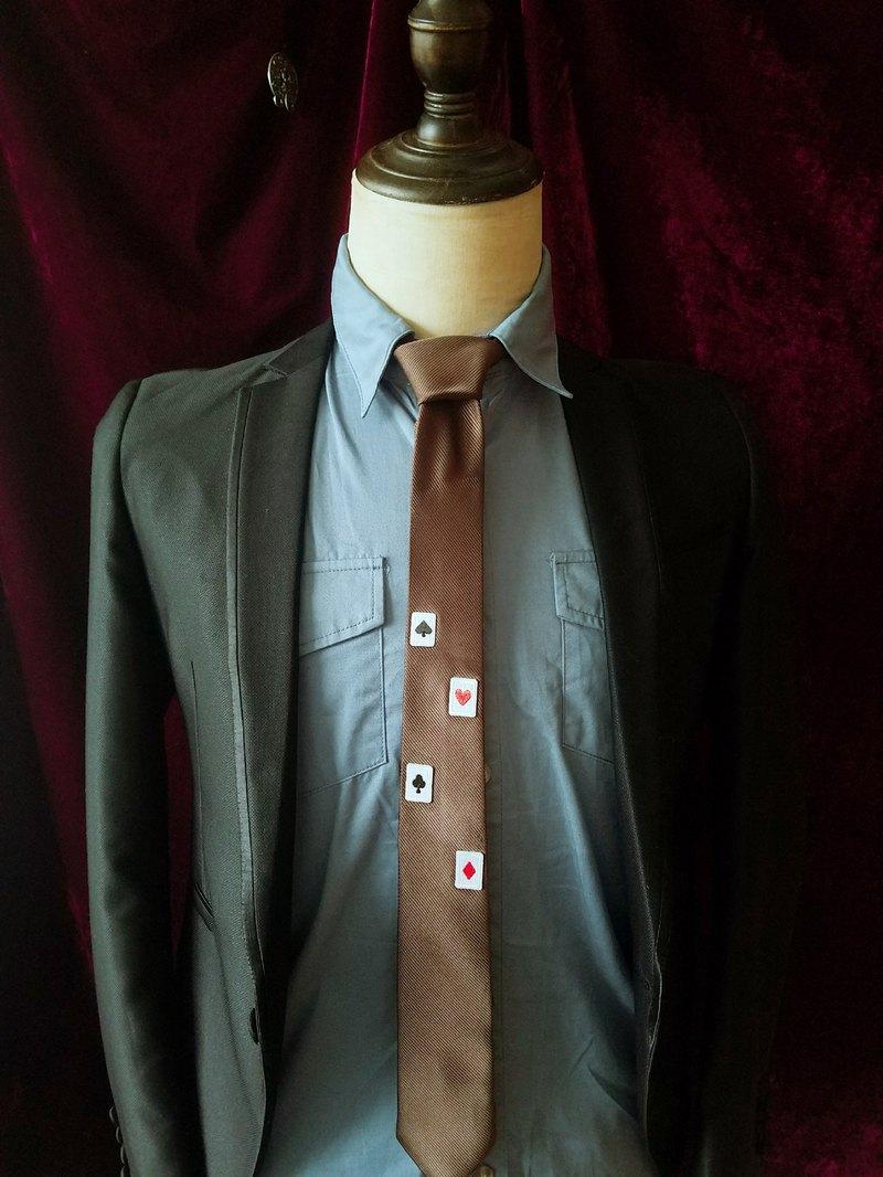 褐色撲克牌刺繡領帶型男百搭格調領帶