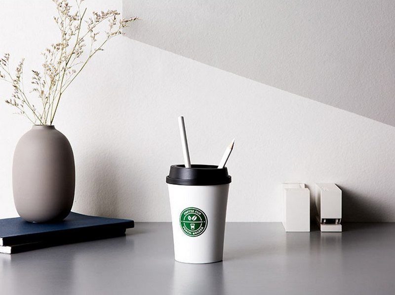 COFFEE CUP PENCIL HOLDER / BK&WH