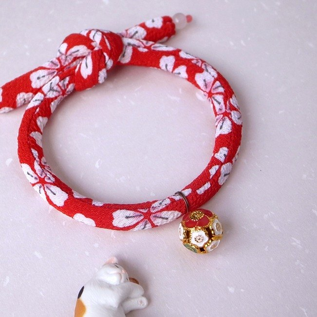 Japanese kimono dog collar & cat collar【Single knot】Red_S size