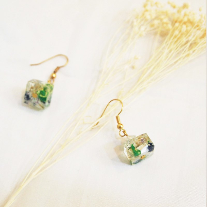 Impressionist oil painting color earrings (gold)
