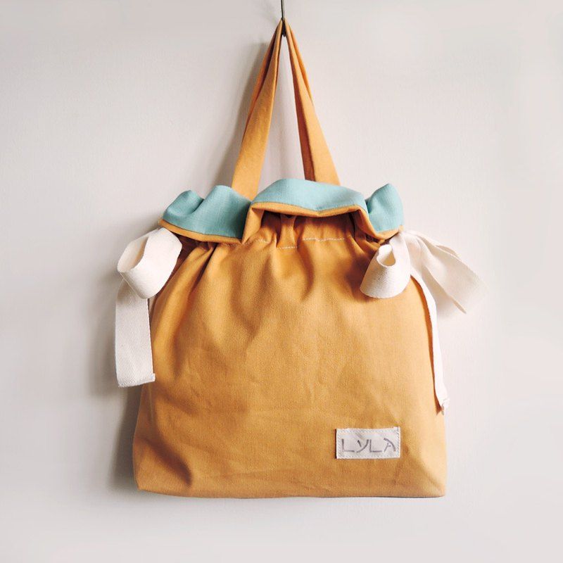 3 way bag with big bow - Orange x Sky blue
