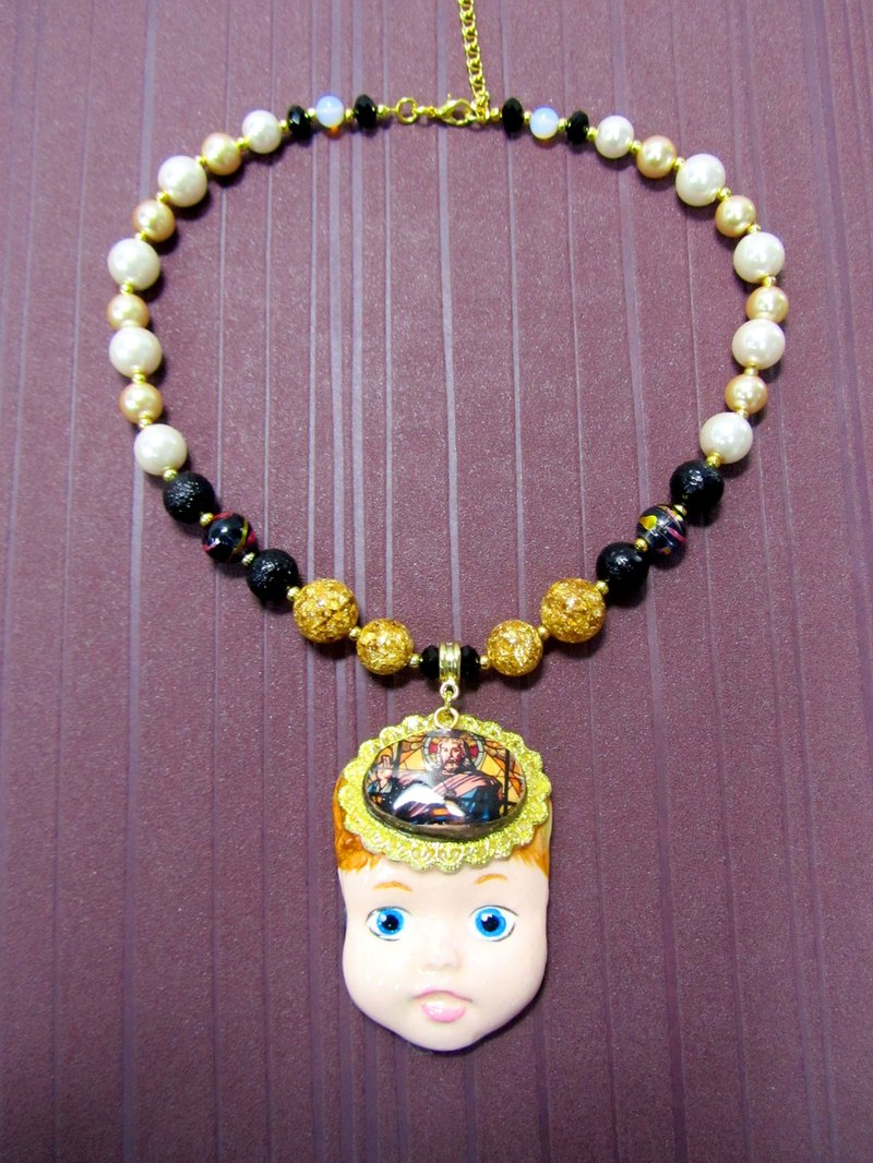 TIMBEE LO hand-made doll face king necklace full hand-made imitation ceramic