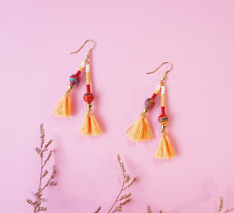 Bohi personality - colored turquoise tassel earrings