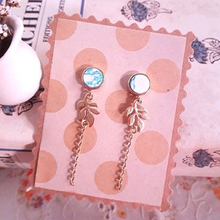 Blue and white synthetic stone olive chain hanging earrings D131 unique temperament asymmetry