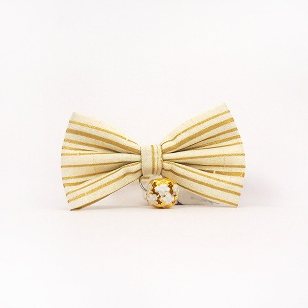 Golden striped bow pet decorative collar cat small dog mini dog