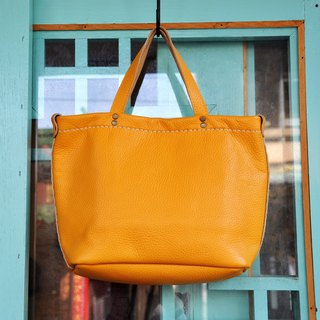 Windy and sunny picnic hand-held tote - thick yellow lychee soft leather