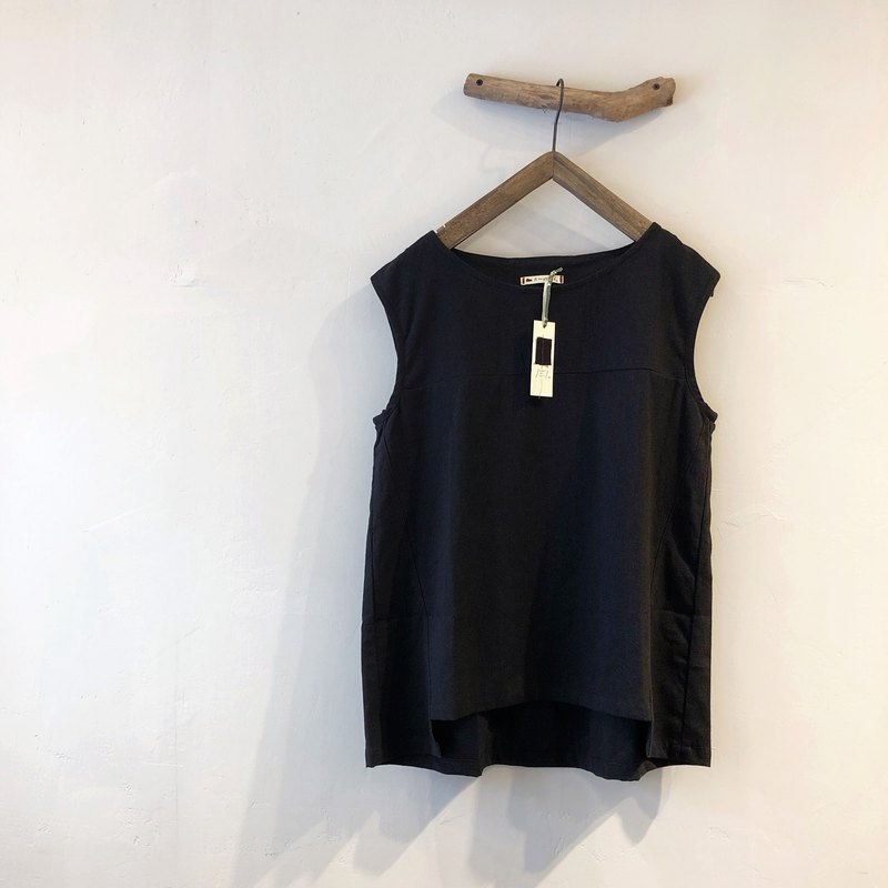 RH clothes / cotton and linen stitching vest / black