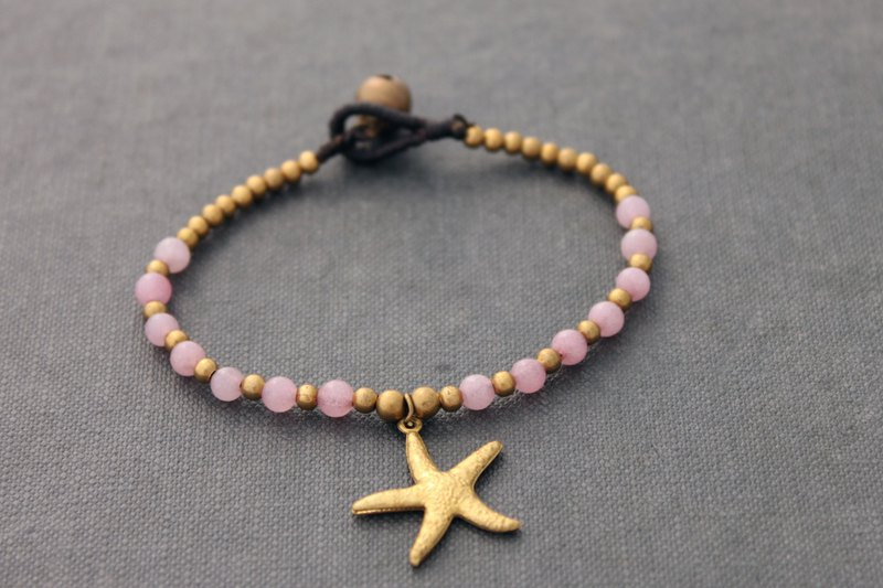 Starfish Charm Beaded Bracelets Brass Stone Rose Quartz Beaded Woven Hemp