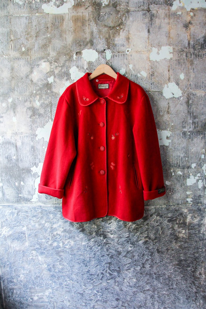 袅袅 department store-Vintage red small flower embroidery fur coat jacket retro