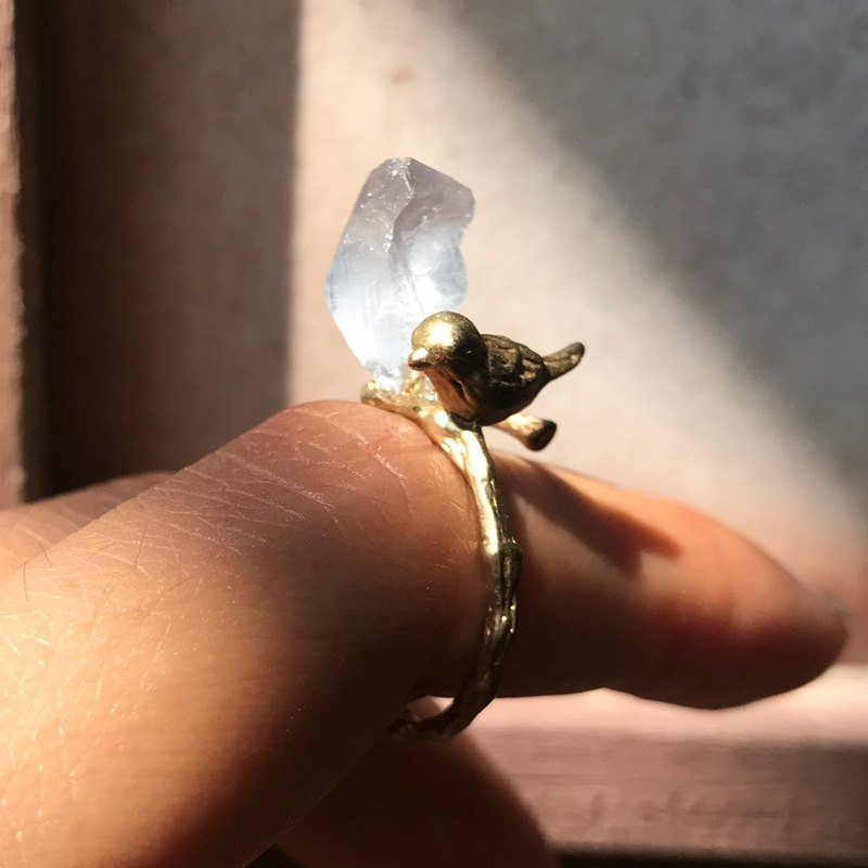 [Lost and find] Jane natural stone fluorite original stone bird ring