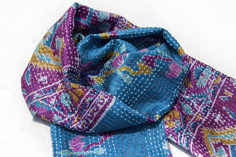 Embroidered scarf / silk embroidered scarf / hand-stitched sari silk scarf / Indian silk embroidered scarf-geometric style