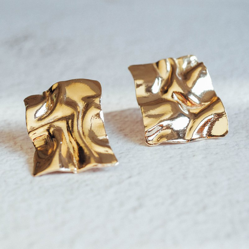 Rectangle Water Ripple Earrings - Large