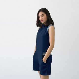 Navy Halter Neck Jumpsuit (Size S)