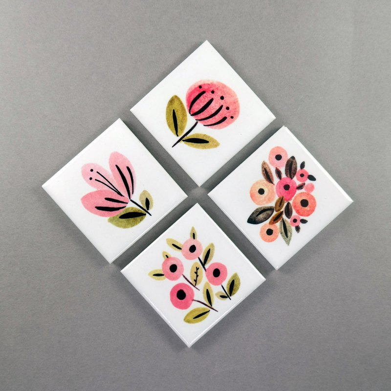 Flower Magnet Holder Cute Fridge Magnet (Set of 4)